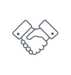 handshake line icon partnership and agreement vector image