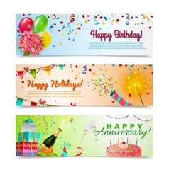 Happy birthday anniversary celebration banners set vector