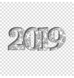 Happy new year silver number 2019 silvery glitter vector