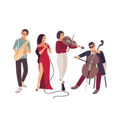 jazz or blues music band performing on stage vector image