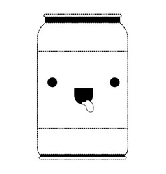 kawaii beer can in black dotted silhouette vector image