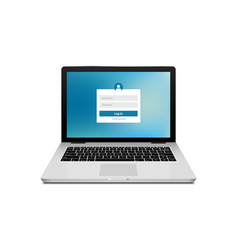 laptop login password on lock screen computer vector image