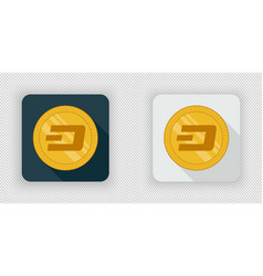 Light and dark crypto currency icon dash vector