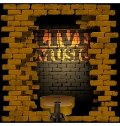 live music brick wall flash of lightning vector image