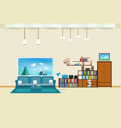 living room interior flat design relax with sofa vector image