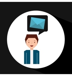 man cartoon message email envelope vector image