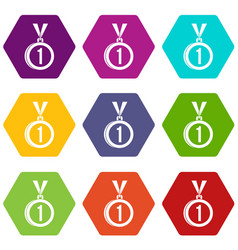 medal for first place icon set color hexahedron vector image