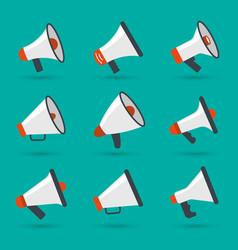 megaphone set announcement items loud speaker vector image