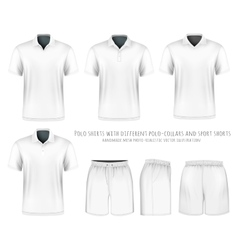 Men short sleeve polo shirt and sport shorts vector image