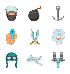 Military service icons set cartoon style vector