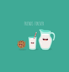 milk and cookies vector image