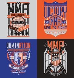 MMA t-shirt design emblem set vector image