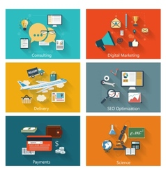 Modern concept banners set in flat design vector image