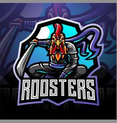 Ninja rooster esport mascot logo vector