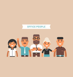 Office people team of employees colored flat vector