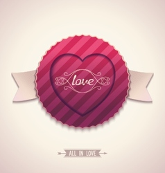 Old-fashioned label for love vector