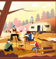 people camping of friends in forest outdoor vector image