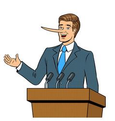 politican with long nose lies pop art vector image