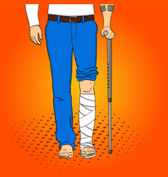 pop art men legs in plaster cane and support vector image
