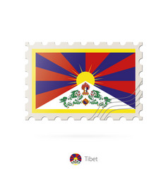 Postage stamp with image tibet flag vector