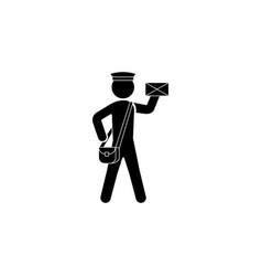 postman icon black on white background vector image