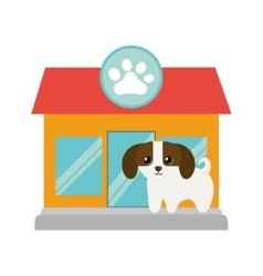 puppy little canine adorable pet shop facade paw vector image