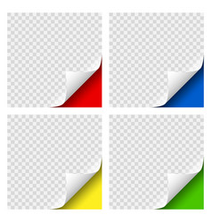 realistic curly page colored corners set vector image