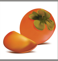 realistic detailed 3d fresh persimmon set vector image