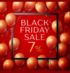 red balloons with black friday sale seven vector image