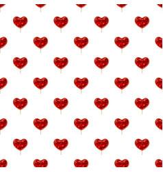 Red heart shaped lollipop pattern vector
