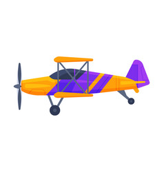 retro biplane with propeller flying aircraft vector image