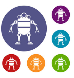 Robot icons set vector
