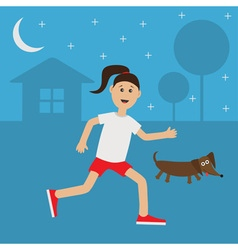 Running girl Dachshund dog Cute run woman Night vector