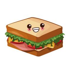 Sandwich healthy food cute kawaii cartoon vector