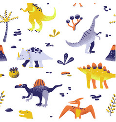 seamless cartoon dinosaurs pattern babackground vector image