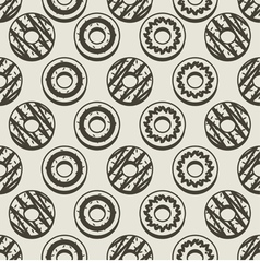 Seamless Pattern Black And White Donuts Background vector
