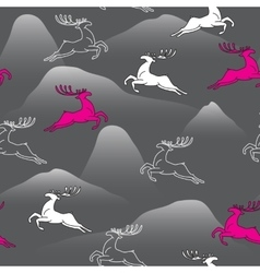 Seamless pattern with silhouette Christmas deer vector