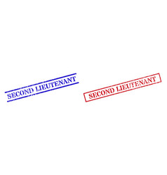 Second lieutenant textured scratched seal stamps vector