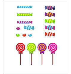Set multi-colored striped sweets lollipops vector
