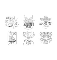 set of 6 sketch style emblems for mexican vector image