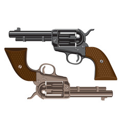 Set of big revolvers on a white background vector