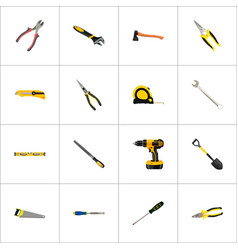 set of instruments realistic symbols with saw vector image