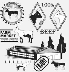 Set of premium beef labels badges and design vector