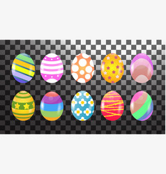 set ten colorful easter eggs isolated eggs with vector image