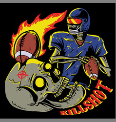 skull playing american football vector image