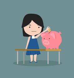 small girl putting coin a piggy bank money vector image