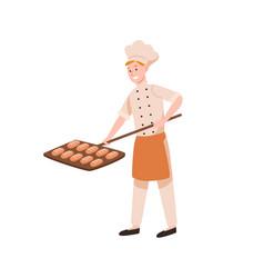 Smiling male baker baking bread flat vector