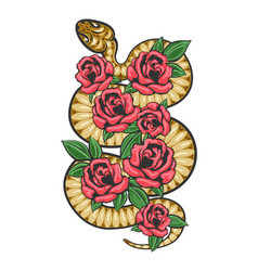 snake white flowers patch vector image