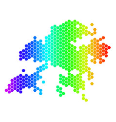 Spectrum hexagon hong kong map vector