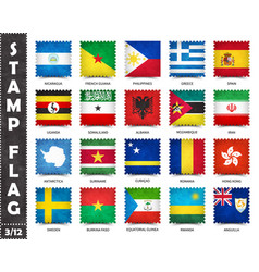 Stamp with official country flag set 3 12 vector